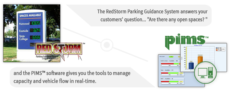 The RedStorm Parking Guidance System answers your customers' the question... Are there any open spaces? and the PIMS? software gives you the tools to manage capacity and vehicle flow in real-time.