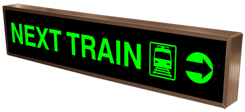 Product # 32318 LED backlit, blank out, Next Train platform sign