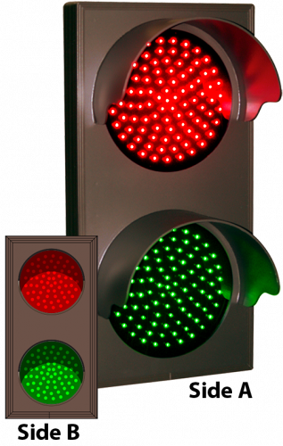 Indicator Dots, Double-faced with Hoods, Vertical, Red - Green