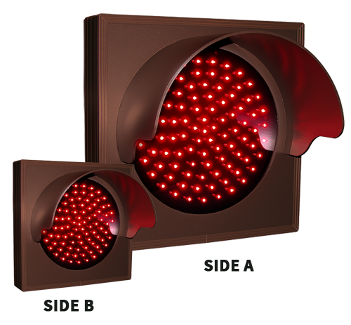 Indicator Dot, Double Face, Single, Red w/ Hood and Flashing