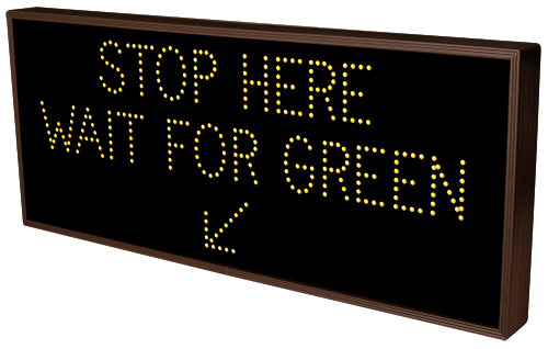 STOP HERE WAIT FOR GREEN w/ Down Left Arrow