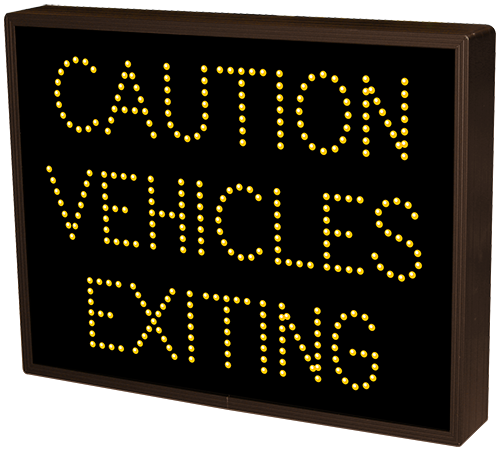 CAUTION VEHICLES EXITING
