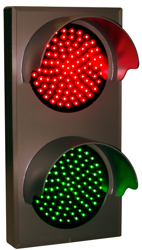 Indicator Dots, double with hoods, vertical, Red - Green (12-24VDC
