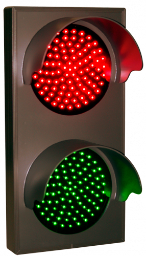 Indicator Dots, double with hoods, vertical, Red - Green (12-24VDC)
