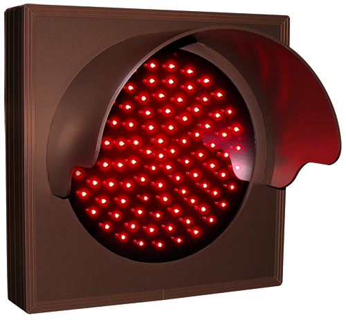 Indicator Dot, single with hood and flashing, Red (12-24VDC)