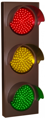 Indicator Dots, triple with hoods, vertical, Red - Amber - Green (12-24VDC)