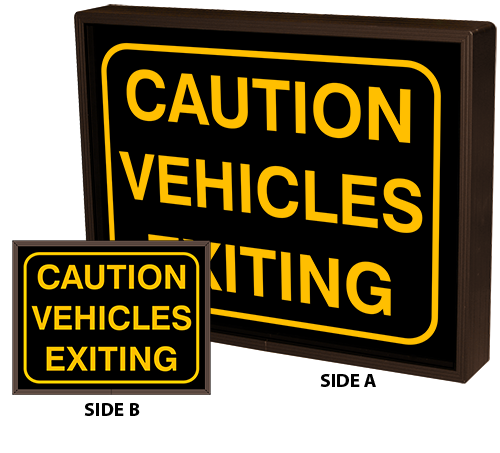 CAUTION VEHICLES EXITING w/Border | CAUTION VEHICLES EXITING w/Border