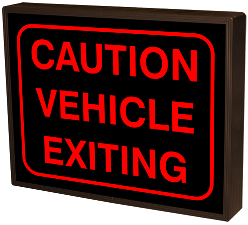 CAUTION VEHICLE EXITING w/Border (12-24VDC)