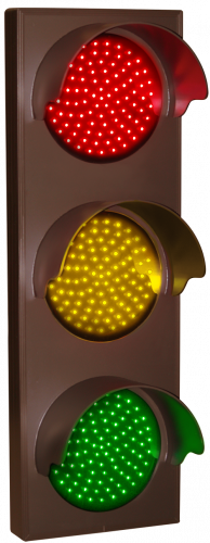 Indicator Dots, triple with hoods, vertical, Red - Amber - Green